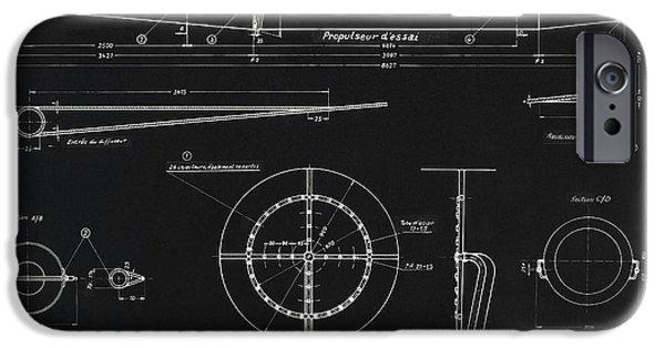 Sanger iPhone Cases - German Wwii Ramjet Engine Blueprint iPhone Case by Detlev van Ravenswaay
