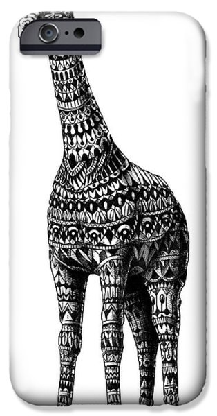 Artwork Drawings iPhone Cases - Ornate Giraffe iPhone Case by BioWorkZ