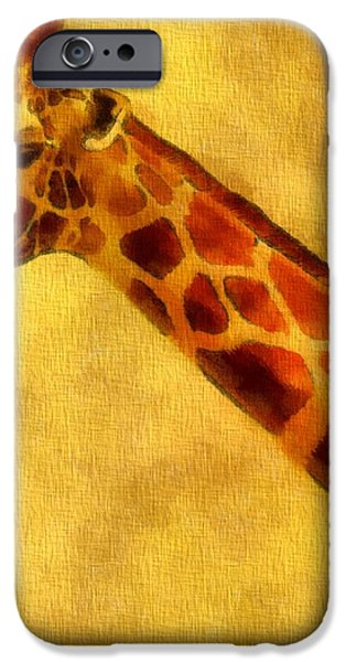 Giraffe Painting iPhone Case by Dan Sproul