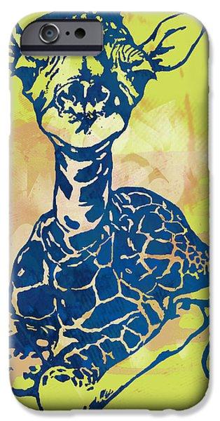 Terrestrial iPhone Cases - Giraffe - stylised pop modern etching art portrait iPhone Case by Kim Wang