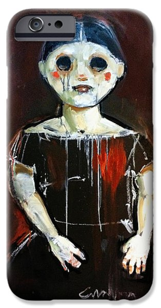 Creepy Paintings iPhone Cases - Girl iPhone Case by H James Hoff
