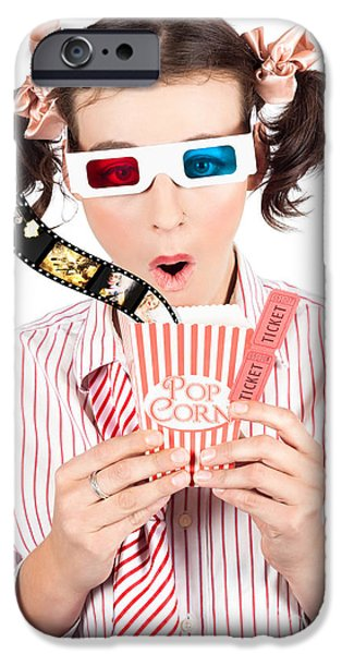 Absorb iPhone Cases - Girl In Pigtails Watching A 3D Comedy Movie iPhone Case by Ryan Jorgensen