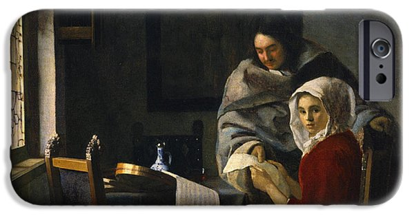 Recently Sold -  - Furniture iPhone Cases - Girl Interrupted at Her Music iPhone Case by Johannes Vermeer