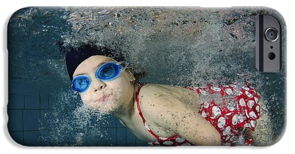 Innocence iPhone Cases - Girl Swimming Underwater iPhone Case by Photostock-israel