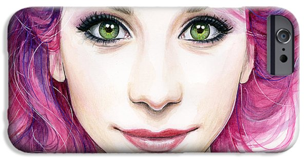 Fuchsia iPhone Cases - Girl with Magenta Hair iPhone Case by Olga Shvartsur
