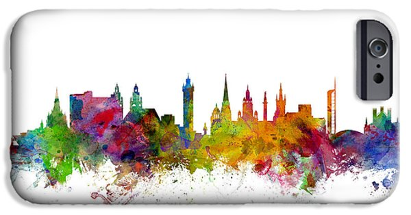Britain iPhone Cases - Glasgow Scotland Skyline iPhone Case by Michael Tompsett