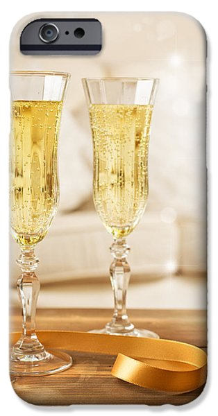 Bubbly iPhone Cases - Glasses Of Champagne iPhone Case by Amanda And Christopher Elwell