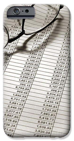 Accounting iPhone Cases - Glasses on Financial Spreadsheet iPhone Case by Olivier Le Queinec