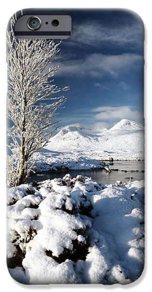 Trees In Snow iPhone Cases - Glencoe Winter iPhone Case by Grant Glendinning