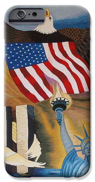 Cities Tapestries - Textiles iPhone Cases - God Bless America hand embroidery iPhone Case by To-Tam Gerwe