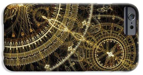 Machinery iPhone Cases - Golden abstract circle fractal iPhone Case by Martin Capek