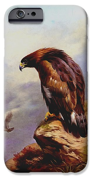 Soaring Paintings iPhone Cases - Golden Eagle iPhone Case by Archibald Thorburn
