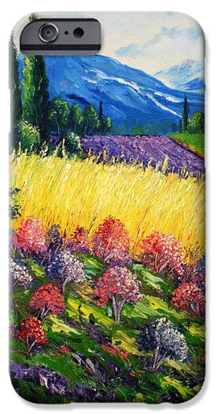 Bob Ross Paintings iPhone Cases - Golden Farm iPhone Case by Shirwan Ahmed