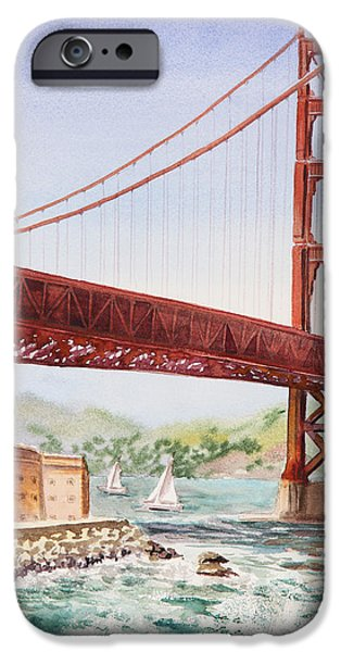 Golden Gate iPhone Cases - Golden Gate Bridge San Francisco iPhone Case by Irina Sztukowski