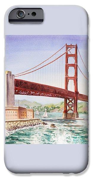 Bay Bridge iPhone Cases - Golden Gate Bridge San Francisco iPhone Case by Irina Sztukowski