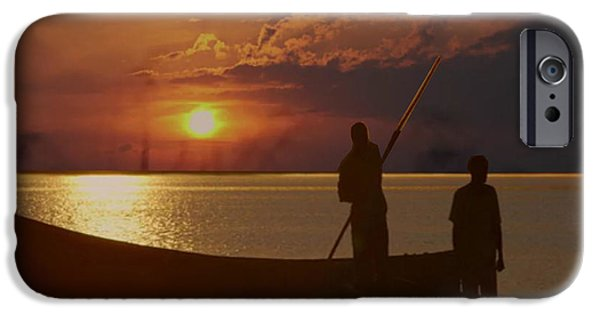 Virtual Mixed Media iPhone Cases - Golden sunset two fishermen enjoy the evening after days  hardwork iPhone Case by Navin Joshi