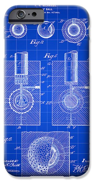 Patent Drawing iPhone Cases - Golf Ball Patent 1902 - Blue iPhone Case by Stephen Younts