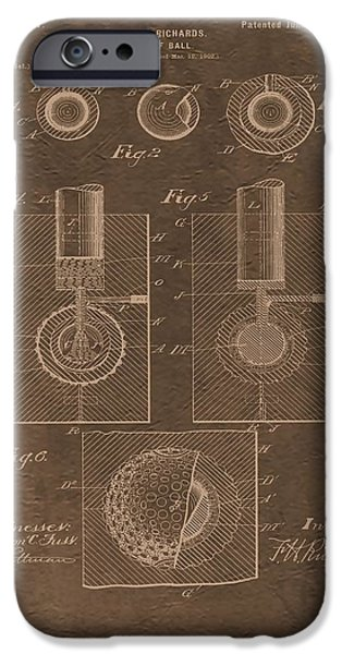 Professional Golf iPhone Cases - Golf Ball Patent iPhone Case by Dan Sproul