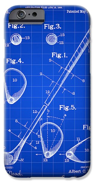 Iron iPhone Cases - Golf Club Patent 1909 - Blue iPhone Case by Stephen Younts