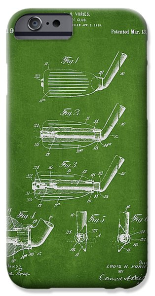Golf Green iPhone Cases - Golf Club Patent Drawing From 1917 iPhone Case by Aged Pixel