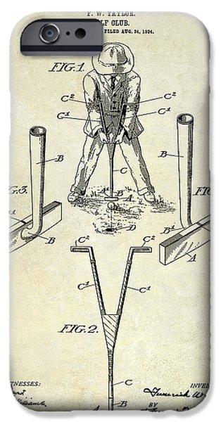 Golf Green iPhone Cases - Golf Club Patent Drawing iPhone Case by Jon Neidert