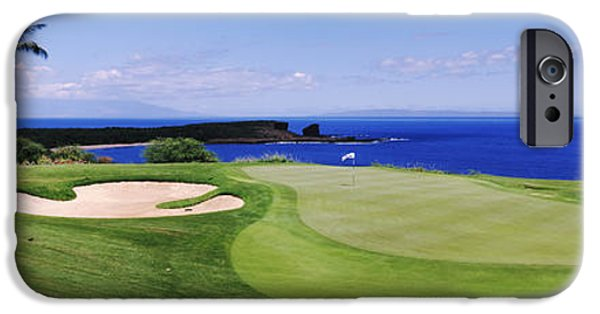 Hawaii Islands iPhone Cases - Golf Course At The Oceanside, The iPhone Case by Panoramic Images