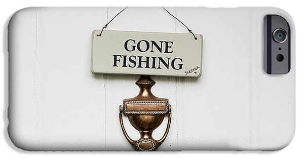Pastimes iPhone Cases - Gone Fishing Forever iPhone Case by Tim Gainey
