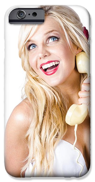 60s Hair iPhone Cases - Gorgeous blond woman laughing on telephone call iPhone Case by Ryan Jorgensen
