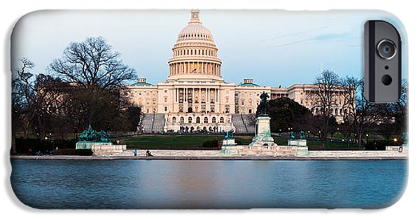 National Mall iPhone Cases - Government Building At Dusk, Capitol iPhone Case by Panoramic Images
