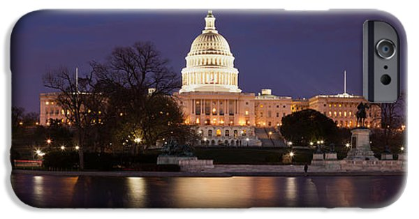 National Mall iPhone Cases - Government Building Lit Up At Dusk iPhone Case by Panoramic Images