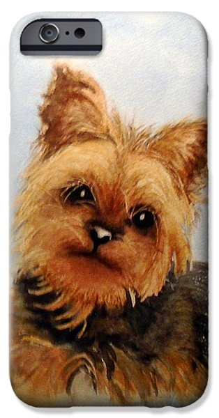 Yorkshire Terrier Watercolor iPhone Cases - Gracie iPhone Case by Sandra Stone