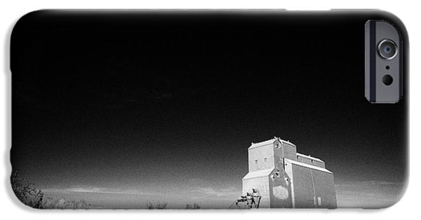 Sask iPhone Cases - grain elevator landmark bengough Saskatchewan Canada iPhone Case by Joe Fox