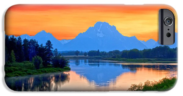Dog In Landscape iPhone Cases - Grand AM at Grand Tetons iPhone Case by Randall Branham