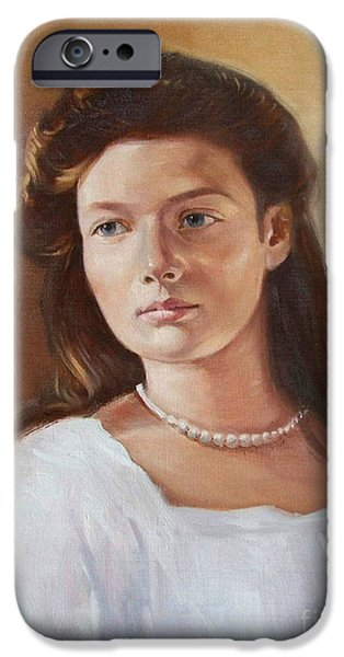 Duchess Paintings iPhone Cases - Grand Duchess Tatiana Nikolaevna of Russia iPhone Case by George Alexander