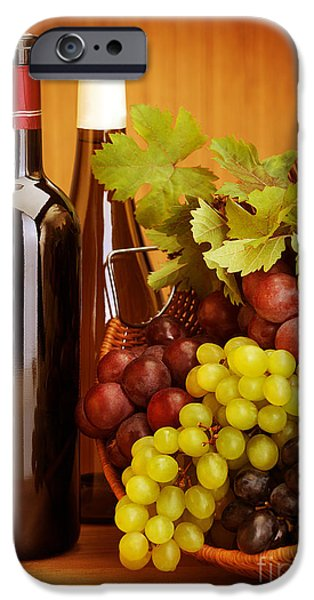 Grapevine Red Leaf iPhone Cases - Grape wine still life iPhone Case by Anna Omelchenko
