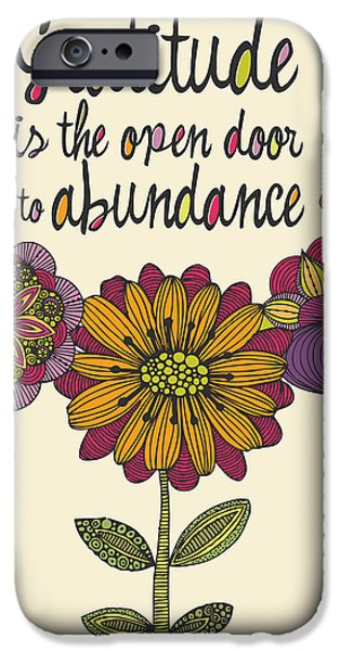 Quotation iPhone Cases - Gratitude is the open door to abundance iPhone Case by Valentina Ramos