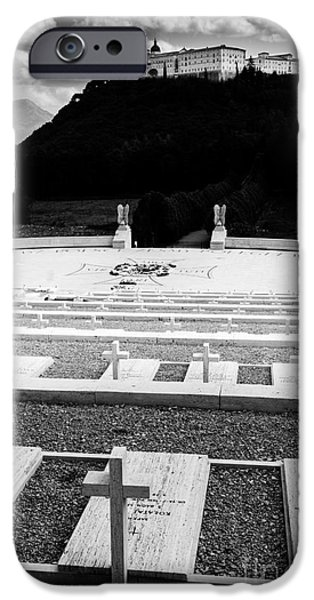 Headstones iPhone Cases - Gravestones in the Polish Cemetery standing proud towards the Ab iPhone Case by Peter Noyce