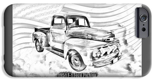 Classic F1 iPhone Cases - Green 1951 Ford F-1 Pickup Truck  iPhone Case by Keith Webber Jr