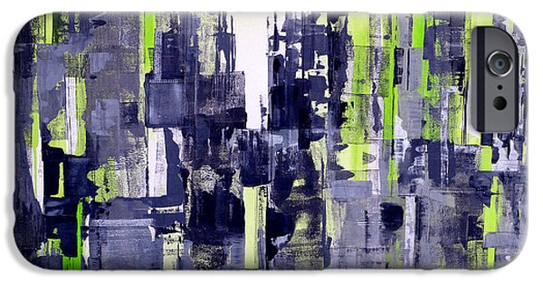 Concept Paintings iPhone Cases - Green City iPhone Case by Katie Black