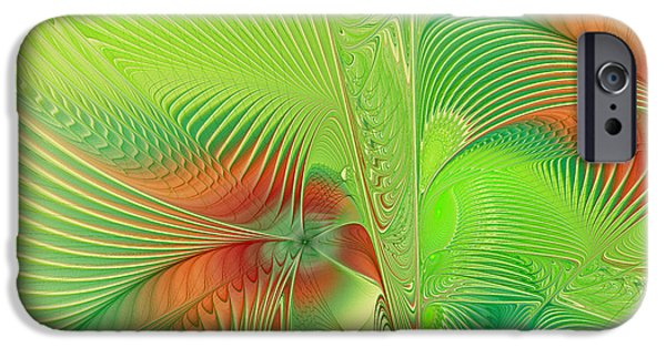 """geometric Art"" iPhone Cases - Green machine iPhone Case by Deborah Benoit"