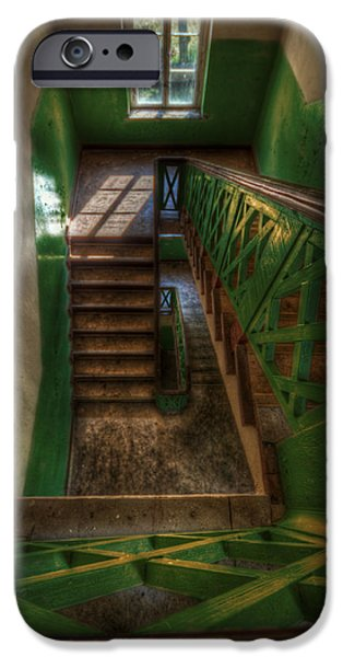 Wooden Stairs iPhone Cases - Green stairs iPhone Case by Nathan Wright