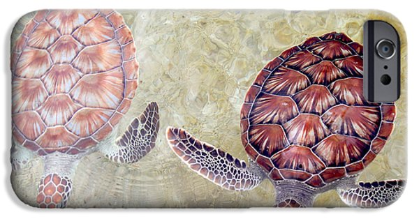 Reptiles Photographs iPhone Cases - Green Turtles iPhone Case by Carey Chen