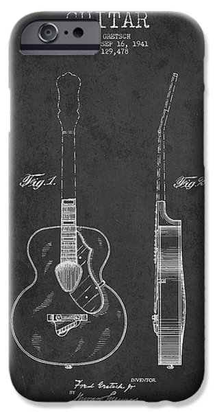 Strings Digital iPhone Cases - Gretsch guitar patent Drawing from 1941 - Dark iPhone Case by Aged Pixel