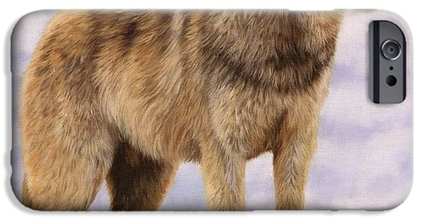 Timber Wolf iPhone Cases - Grey Wolf iPhone Case by David Stribbling