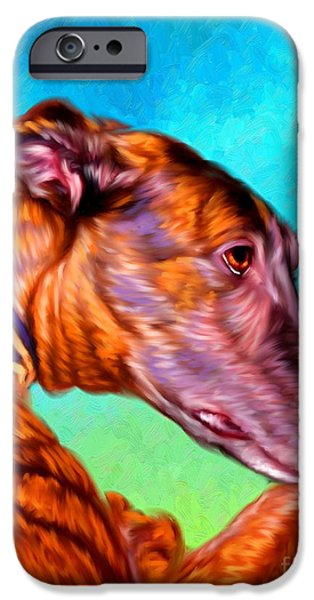 Puppies iPhone Cases - Greyhound Art iPhone Case by Iain McDonald