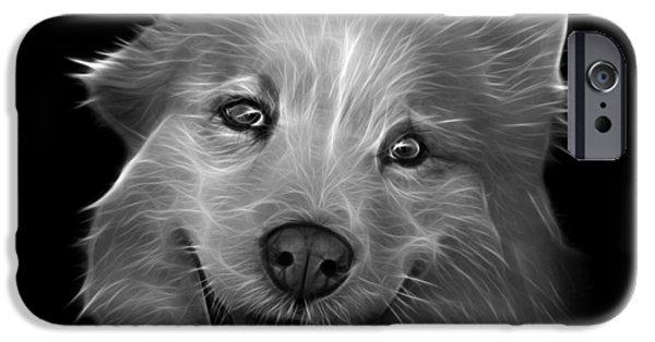 Mixed Labrador Retriever Paintings iPhone Cases - Greyscale Siberian Husky Mix Dog Pop Art - 5060 BB iPhone Case by James Ahn