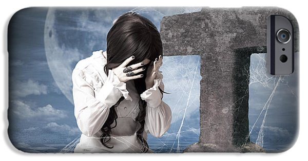 Cemetary iPhone Cases - Grieving gothic girl crying next to gravestone iPhone Case by Ryan Jorgensen