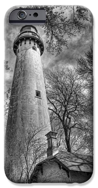Lighthouses iPhone Cases - Grosse Point Lighthouse iPhone Case by Scott Norris