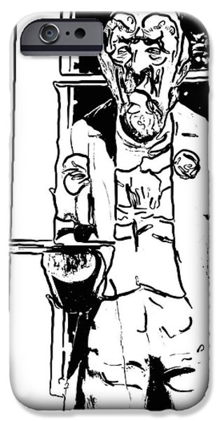 Waiter Digital iPhone Cases - Grumpy Old Waiter Carving Key West - Digital iPhone Case by Ian Monk