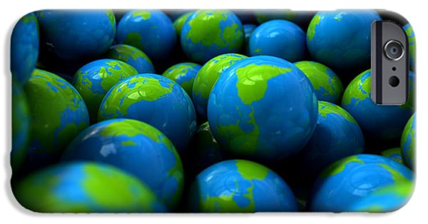 Concept Digital Art iPhone Cases - Gum Ball Earth Globes iPhone Case by Allan Swart